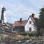 Home By Lighthouse Art Print