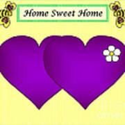 Home Sweet Home Purple Hearts 1 Art Print