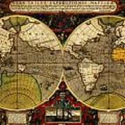 Hondius Map Of The World 1595 Art Print