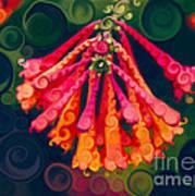 Honeysuckle Bloom In An Abstract Garden Painting Art Print