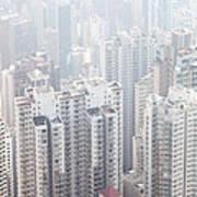 Hong Kong City In The Mist Art Print