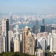 Hong Kong Harbor From Victoria Peak In A Sunny Day Art Print by Matteo Colombo