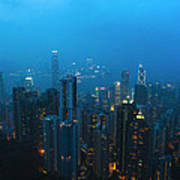 Hong Kong In Foggy Night Art Print