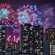 Honolulu Festival Fireworks Art Print