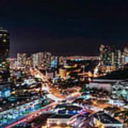 Honolulu Night Panorama Art Print