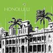 Honolulu Skyline Iolani Palace - Olive Art Print