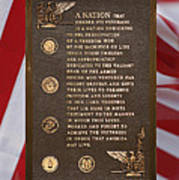 Honor The Veteran Signage With Flags 2 Panel Composite Digital Art Art Print