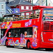 Hop On And Hop Off Bus In Bergen Art Print