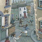 Hopscotch Down The Hill Art Print