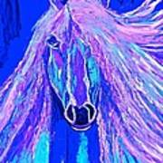 Horse Abstract Blue And Purple Art Print