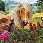 Horse And Cats Art Print