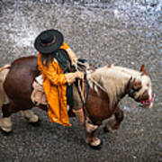 Horse And Rider From Above Art Print