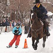 Horse And Skier Slalom Race Art Print