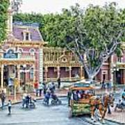 Horse And Trolley Turning Main Street Disneyland 01 Art Print