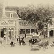 Horse And Trolley Turning Main Street Disneyland Heirloom Art Print