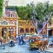 Horse And Trolley Turning Main Street Disneyland Photo Art 02 Art Print