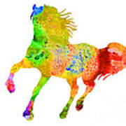 Horse Colorful Silhouette Art Print Watercolor Paintig Art Print