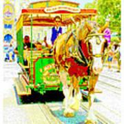 Horse Drawn Trolley Car Main Street Usa Art Print