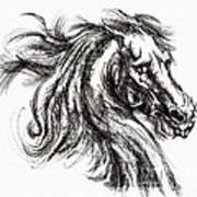 Horse Face Ink Sketch Drawing - Inventing A Horse Art Print
