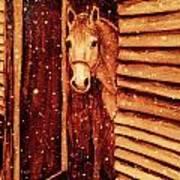 Horse In Snow Art Print