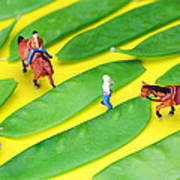 Horse Riding On Snow Peas Little People On Food Art Print