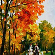 Horseback Stroll - Palette Knife Oil Painting On Canvas By Leonid Afremov Art Print