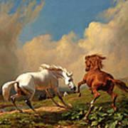 Horses Balking At Approaching Storm Art Print