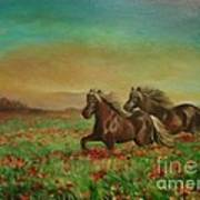 Horses In The Field With Poppies Art Print