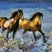 Horses In Water Art Print