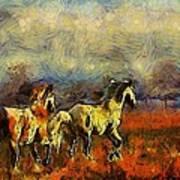 Horses On The Gogh Art Print