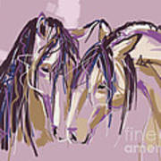 horses Purple pair Art Print
