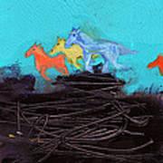 Horses Running On The Pass Art Print