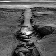 Horseshoes Beach  Black And White Art Print