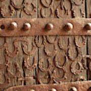 Horseshoes Decorate A Wooden Door, Jama Art Print