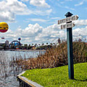 Hot Air Balloon And Old Key West Port Orleans Signage Disney World Art Print