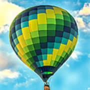 Hot Air Balloon Checkerboard Art Print