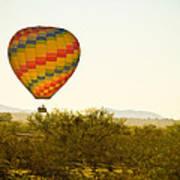 Hot Air Balloon In The Lush Arizona Desert With Saguaro Cactus Art Print