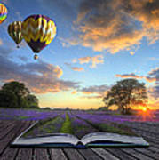 Hot Air Balloons Lavender Landscape Magic Book Pages Art Print