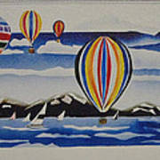 Hot Air Balloons Over Lake Tahoe Art Print