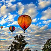 Hot Air Balloons Over Trees Art Print