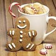 Hot Chocolate Toasted Marshmallows And A Gingerbread Cookie Art Print