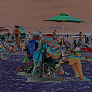 Hot Day At The Beach - Solarized Art Print