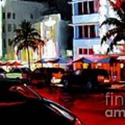 Hot Nights In South Beach - Oil Art Print by Michael Swanson