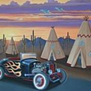 Hot Rod At The Wigwams Art Print
