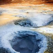 Hot Springs At Namaskard In Iceland Art Print