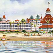 Hotel Del Coronado From Ocean Art Print by Mary Helmreich