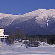 Hotel Near Snow Covered Mountains, Mt Art Print