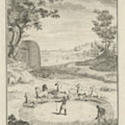 Hottentots Threshing, Jan Caspar Philips Art Print
