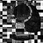 Hour Glass Guitar Random Bw Squares Art Print