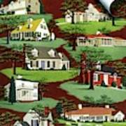 House & Garden Cover Illustration Of 9 Houses Art Print